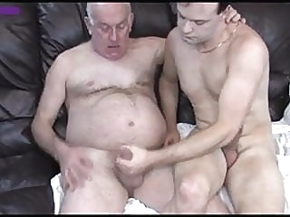 Grandpa and NOT his Son Having a Lesson the Couch blowjob (gay) daddy (gay) masturbation (gay)