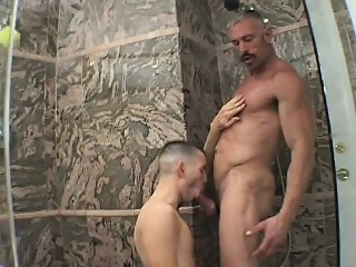 Pretty boy has a lustful daddy pounding his lovely ass in the shower blowjob (gay) gays (gay) hunks (gay)
